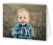 This is a blue thank you card by Chasity Smith called It's Party Time! with foil-pressed printing on strathmore in standard.