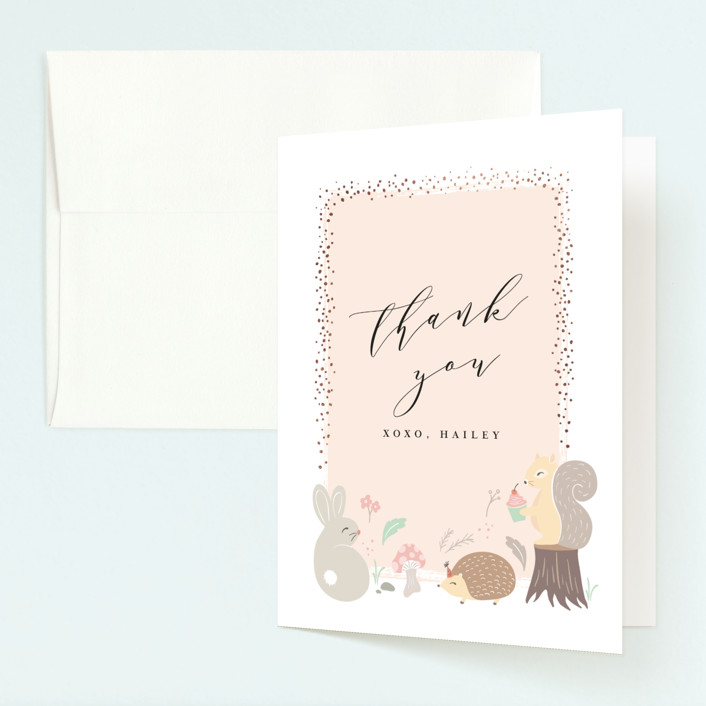 """""""rinaldini"""" - Foil-pressed Children's Birthday Party Thank You Cards in Blush by chocomocacino."""