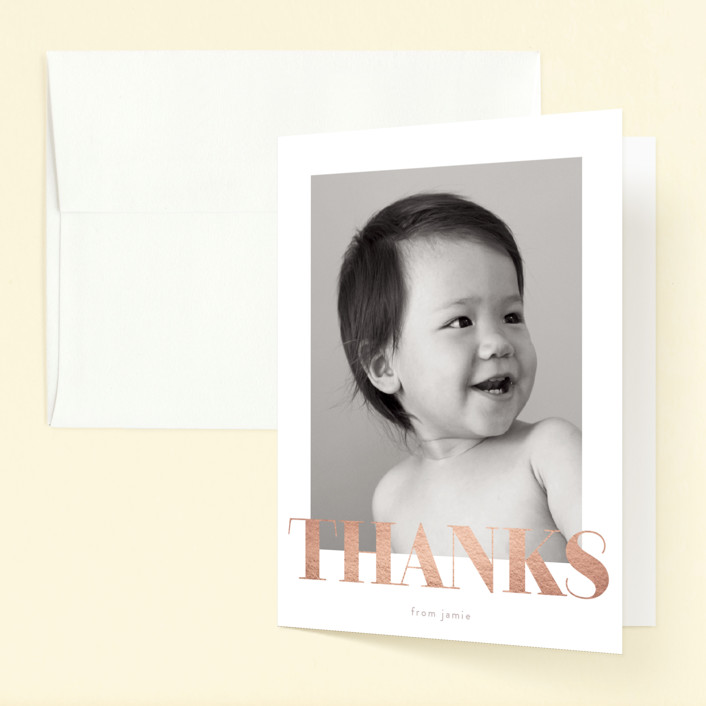 """""""i am one"""" - Foil-pressed Children's Birthday Party Thank You Cards in Rose by Phrosne Ras."""