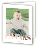 This is a pink thank you card by Phrosne Ras called i am one with foil-pressed printing on strathmore in standard.