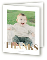 This is a gold thank you card by Phrosne Ras called i am one with foil-pressed printing on strathmore in standard.
