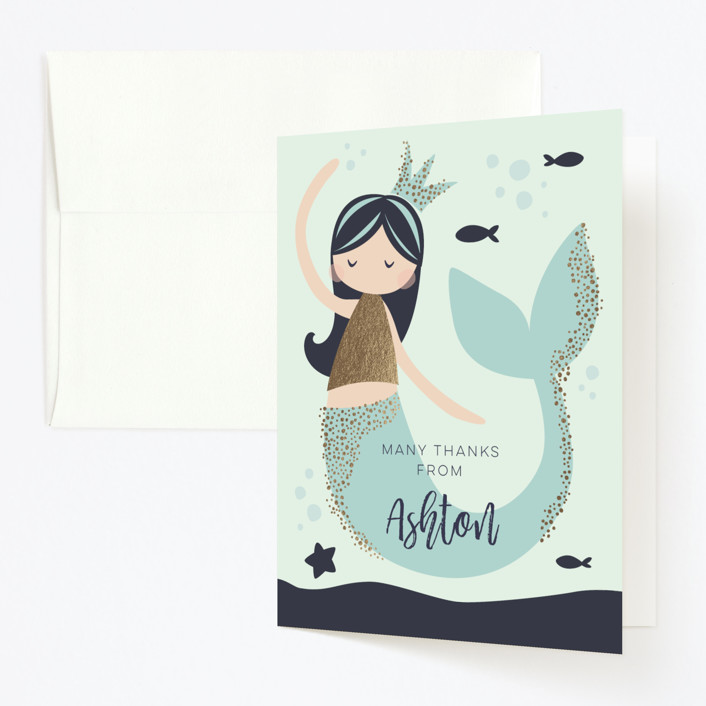 """""""Glitter Mermaid"""" - Foil-pressed Children's Birthday Party Thank You Cards in Deep Sea by peetie design."""