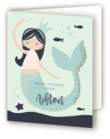 This is a blue thank you card by peetie design called Glitter Mermaid with foil-pressed printing on strathmore in standard.