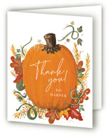 This is a orange thank you card by Corie Page called Pumpkin Patch with foil-pressed printing on strathmore in standard.