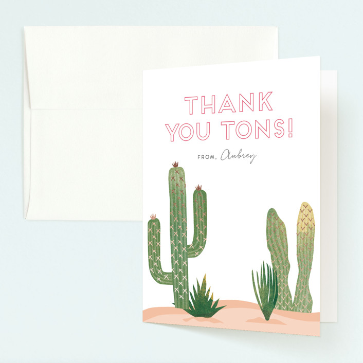 """""""Wild West"""" - Foil-pressed Children's Birthday Party Thank You Cards in Magenta by Casey Brock."""
