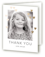 This is a gold thank you card by Simona Camp called Modern Glow with foil-pressed printing on strathmore in standard.