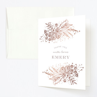 Floral ONE Foil-Pressed Children's Birthday Party Thank You Cards