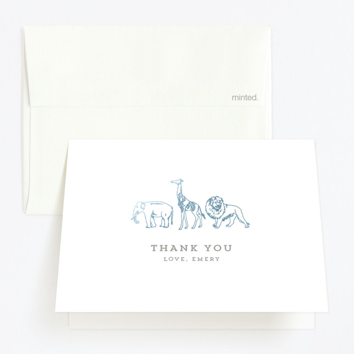 """""""Animal Parade"""" - Foil-pressed Children's Birthday Party Thank You Cards in Gold by Waldo Press."""