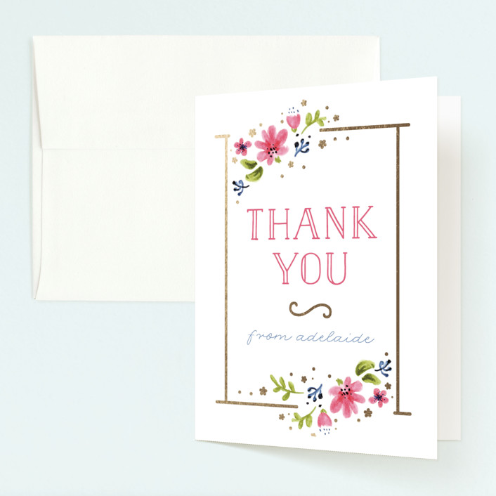 """Simply Sweet One"" - Foil-pressed Children's Birthday Party Thank You Cards in Gold by JeAnna Casper."