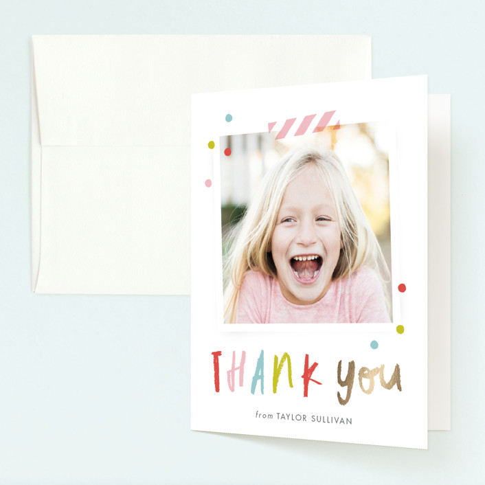 """""""Confetti bash"""" - Foil-pressed Children's Birthday Party Thank You Cards in Bubblegum by Stacey Meacham."""