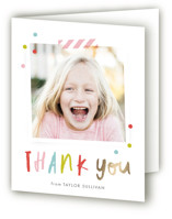 This is a gold thank you card by Stacey Meacham called Confetti bash with foil-pressed printing on strathmore in standard.