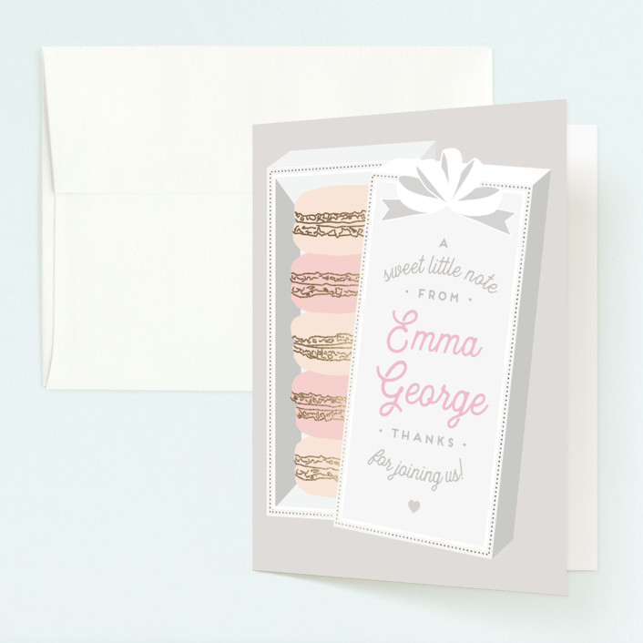 """""""Macaron Parlor"""" - Foil-pressed Children's Birthday Party Thank You Cards in Mist by Jennifer Lew."""