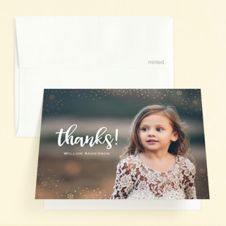 Snowfall Foil-Pressed Children's Birthday Party Thank You Cards
