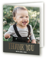 This is a gold thank you card by Jessie Steury called Little Bow Tie with foil-pressed printing on strathmore in standard.