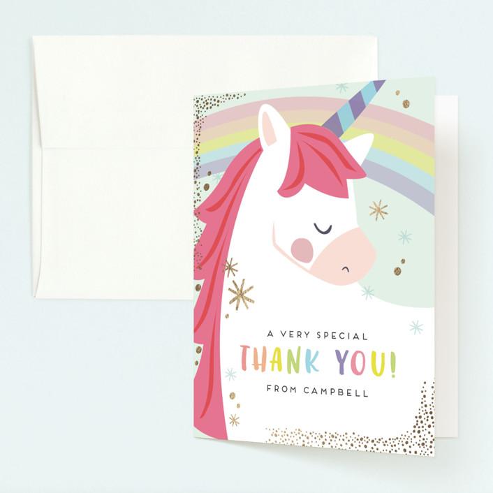 """unicorno"" - Foil-pressed Children's Birthday Party Thank You Cards in Bubblegum by peetie design."