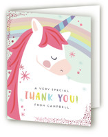 This is a gold thank you card by peetie design called unicorno with foil-pressed printing on strathmore in standard.
