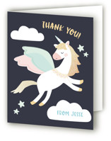 This is a blue thank you card by peetie design called Magical Pegasus with foil-pressed printing on strathmore in standard.