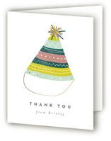 This is a green thank you card by peony papeterie called Party Hat with foil-pressed printing on strathmore in standard.