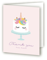 This is a pink thank you card by Annie Holmquist called Sweet Unicorn with foil-pressed printing on strathmore in standard.