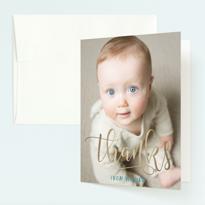"""Onederful"" - Foil-pressed Children's Birthday Party Thank You Cards in Seafoam by Christina Novak."