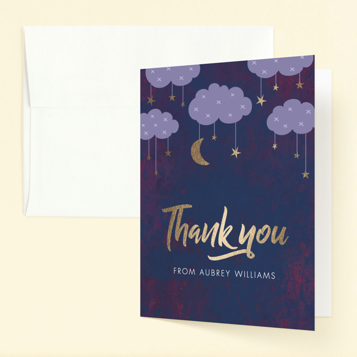 """PJ Party"" - Foil-pressed Children's Birthday Party Thank You Cards in Midnight by Stellax Creative."
