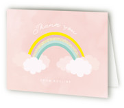 This is a pink thank you card by Angela Thompson called Sparkly Rainbow with foil-pressed printing on strathmore in standard.