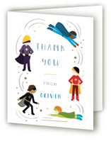 This is a white thank you card by JeAnna Casper called Superhero Party with foil-pressed printing on strathmore in standard.