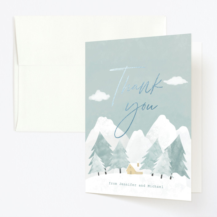 """""""Calm Winter"""" - Foil-pressed Children's Birthday Party Thank You Cards in Frost by Adelyn T.."""