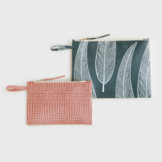 Woodblock Leaves Zipper Pouch