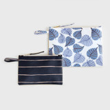This is a blue zipper pouch by Multiple Artists called Painted Leaves.