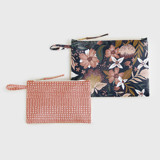 This is a orange zipper pouch by Multiple Artists called Forest Floral.