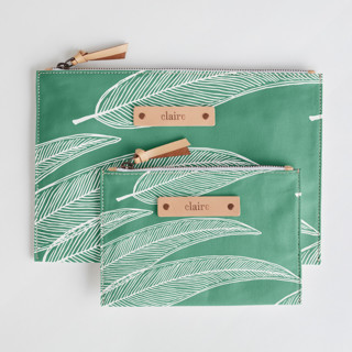 This is a green zipper pouch by Katharine Watson called Sketched Willow.