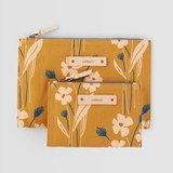 This is a yellow zipper pouch by Alex Roda called Mustard bouquet.
