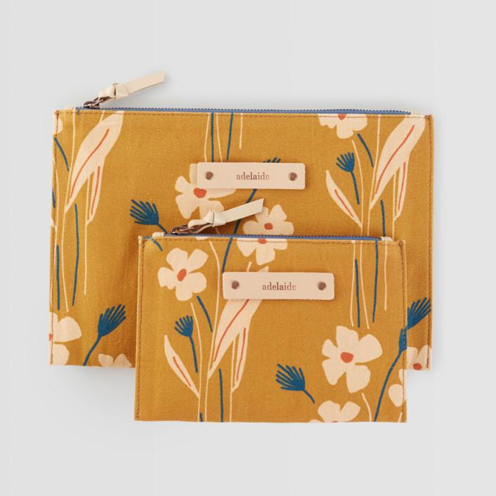 Mustard bouquet Catch-All Fabric Pouch Set