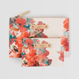 This is a pink zipper pouch by Lori Wemple called Floral Bouquet.
