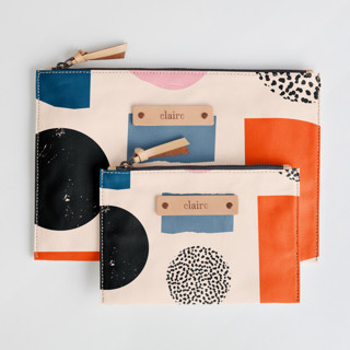 This is a pink zipper pouch by Iveta Angelova called Playground in standard.