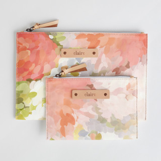 This is a pink zipper pouch by Amy Hall called Spring Bloom.