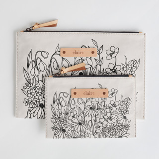 This is a black zipper pouch by Karla Jodoin called Bohemian Florals in standard.