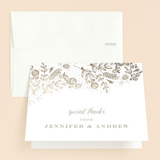 The Bouquet Foil-Pressed Baptism and Christening Thank You Cards