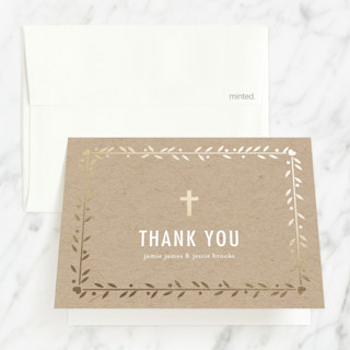 Double the Love Foil-Pressed Baptism and Christening Thank You Cards