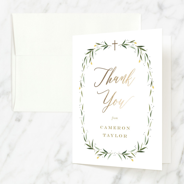 """""""Eucalyptus Wreath"""" - Foil-pressed Baptism And Christening Thank You Cards in Canary by Carolyn MacLaren."""
