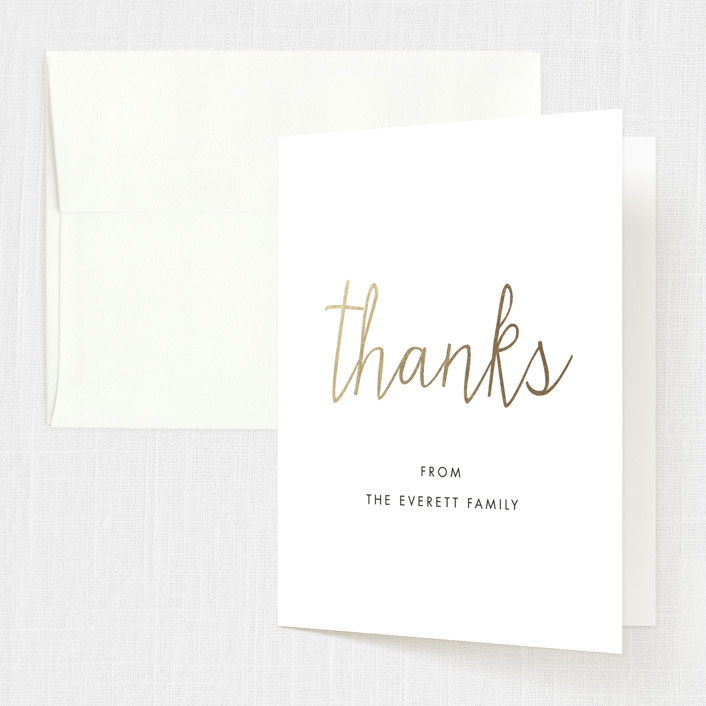 """All Clean"" - Modern Foil-pressed Baptism And Christening Thank You Cards in Snow by Luckybug Designs."