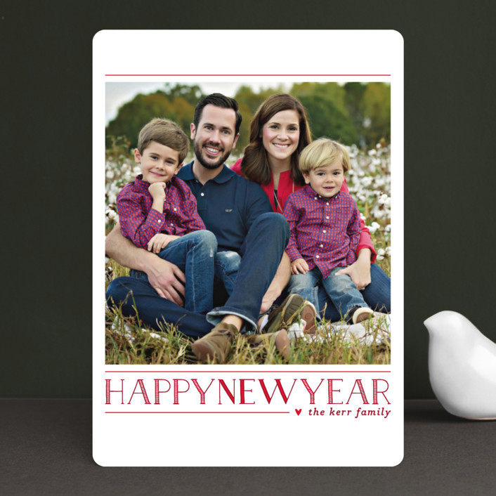 """Love Peace Cheer"" - Christmas Photo Cards in Crimson by Lauren Chism."