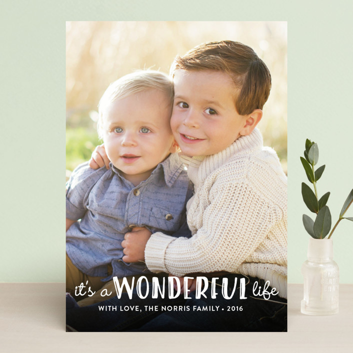"""""""Life Is Wonderful"""" - Christmas Photo Cards in White by GeekInk Design."""