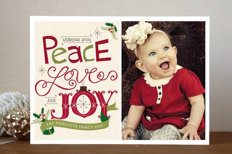 Handmade Peace, Love And Joy Christmas Photo Cards