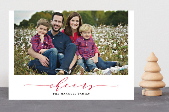"""Timeless Charm"" - Christmas Photo Cards in Poinsettia by Kaydi Bishop."