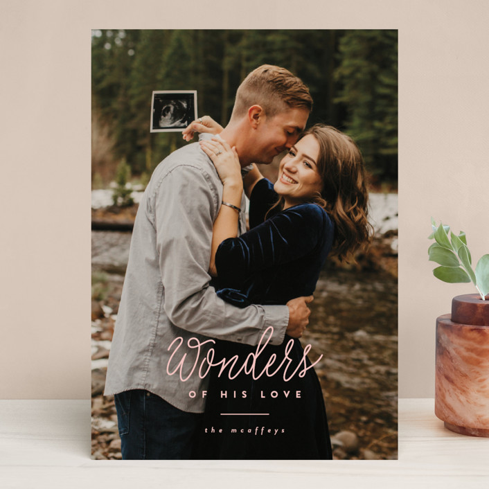 """""""Wonders"""" - Christmas Photo Cards in Blush by Ink and Letter."""