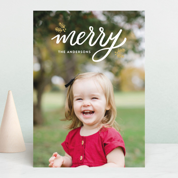 """""""Festive Merry"""" - Christmas Photo Cards in Golden by Little Print Design."""