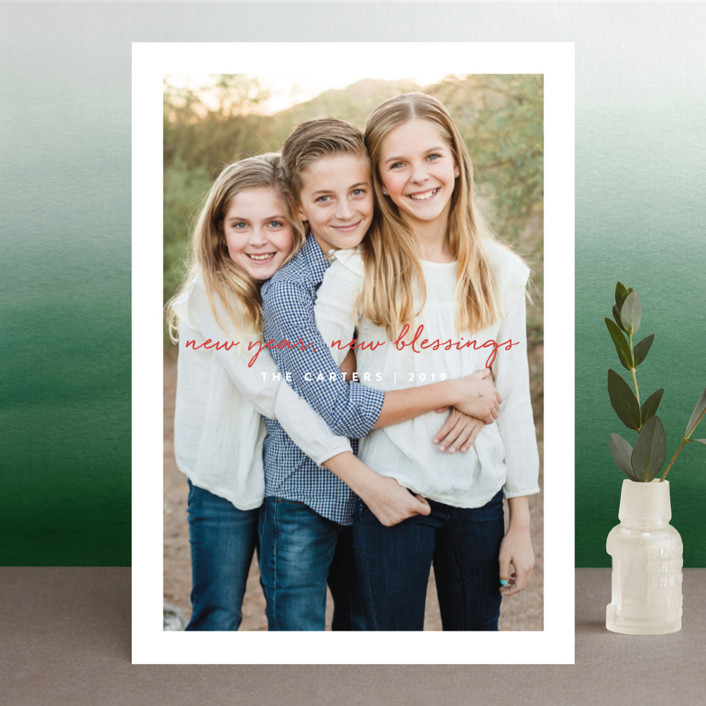 """""""Singing Script"""" - Christmas Photo Cards in Carmine by Olivia Raufman."""