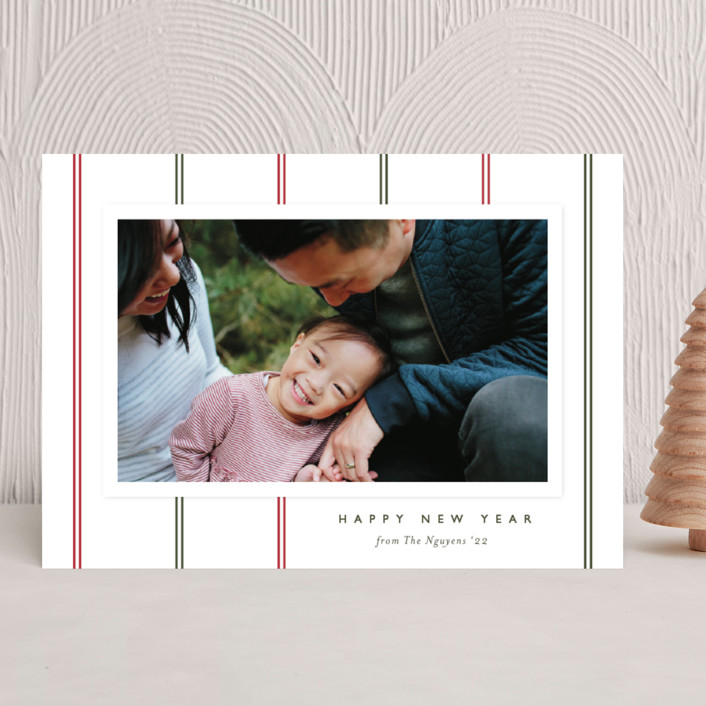 """""""Classic Stripes"""" - Vintage Christmas Photo Cards in Peppermint Twist by Carolyn MacLaren."""